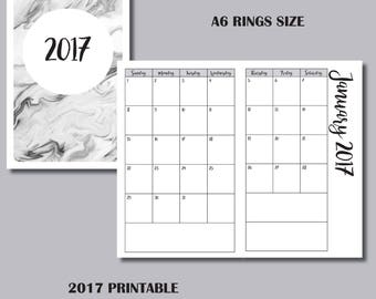 A6 RINGS: 12 MONTH CALENDAR Printable Insert
