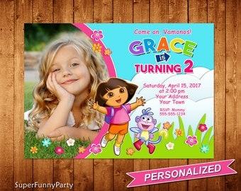 Dora the Explorer Invitation, Dora the Explorer Birthday, Girls Birthday Invitation, Personalized, Digital File