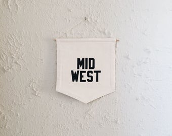 Mid West Banner, Handmade Banner, Wall Hanging, Flag