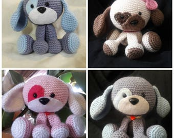 Domino the Dog, Amigurumi Dog, Crochet Dog, Plush Toy, Blue Dog, Pink Dog, Brown Dog, Puppy