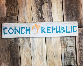 Conch Republic Key West Tiki Reclaimed Wood Sign