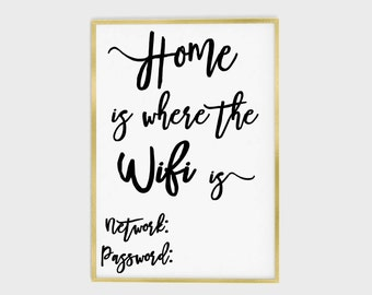 Wifi password printable, wifi password sign, home is where the wifi is, wifi poster, funny wifi sign, wifi printable, wifi sign, instant