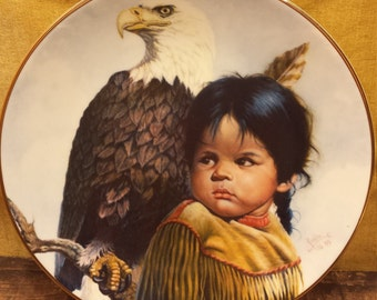 Vintage Brave and Free Collectible Plate by Perillo, Native American Plate, 1980's Gregory Perillo Plate, Pride of America's Indians Plate