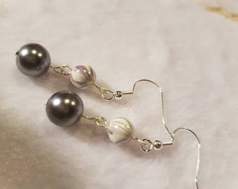 Silver and Grey drop earrings