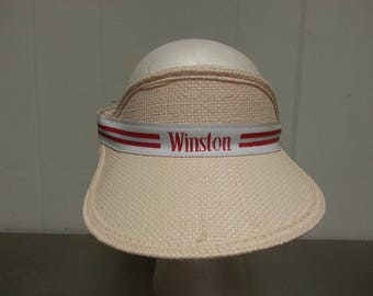 Vintage 80's Winston Racing Straw Sun Visor Tobacco Cigarettes Made In USA
