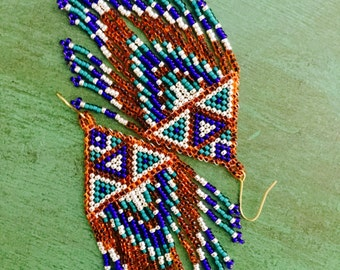 Seed Bead Earrings, Fringe Earrings, Native American Beaded Earrings, Seed Bead Jewelry, Long Earrings,Dangle and Drop Earrings