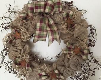 Rustic Burlap Wreath / Rustic Wreath / Burlap Door Wreath / Front Door Wreath / Gifts for Her / Burlap Decor / Farmhouse / Pip Berries