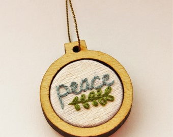 "Peace Embroidery Hoop Necklace - 1"" - Catholic/Christian Peace with Olive Branch"