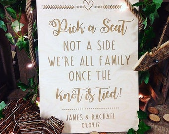 Pick a seat not a side wedding sign, wedding ceremony sign, vintage wedding sign, rustic wedding sign, wedding seating sign, wooden