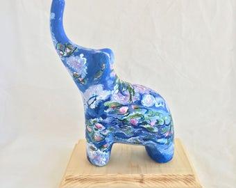 Claude Monet Water Lilies Ceramic Elephant Fine Art Reproduction