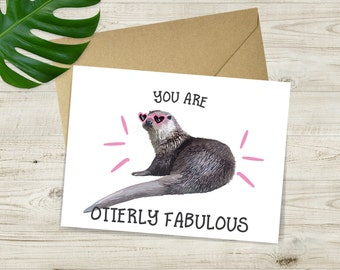 Otterly Fabulous Valentines Day Card