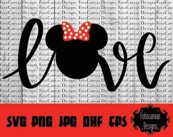 Disney SVG Minnie Mouse, Minnie Head, Bow, Love, Disneyland, Disneyworld, Clipart, Ironon, Cutting File, Silhouette Cameo, Cricut, Viny