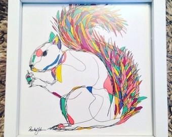 Original squirrel drawing, signed & framed