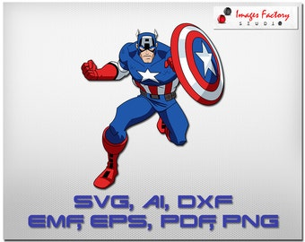 Captain America   svg clip art color layers cuttable Cricut Design Space, Silhouette Digital Cut Files Instant Download, dxf studio3 png pdf