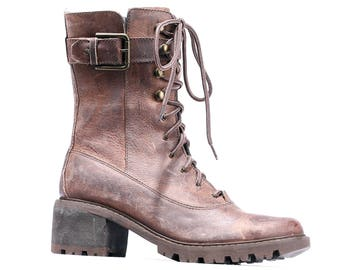 COMBAT Boots 90s Waxed Leather Platform Biker Booties Brown Grunge Motorcycle Lace Up and Zipper Stable Heel Us wom 6 , Eur 36.5 , UK 3.5