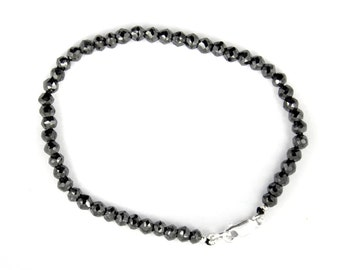 Elegant 4mm Black Diamond Faceted Beads Bracelet with Sterling Silver Lobster Clasp