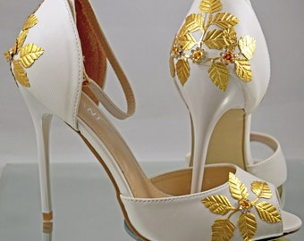 Bridal Wedding Shoes Custom Gold Embellishment Leaves Flowers