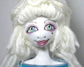 Cloth Art Doll Bust Large Eye , Soft Sculpture Shelfsitter