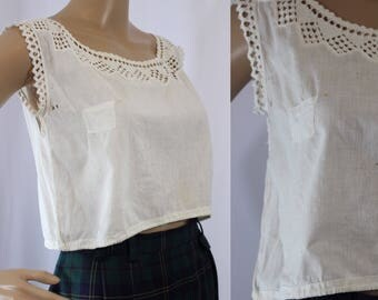 Antique 1910 1920 grungy white cotton crop top with holes and stains and lace rick rack trim modern size 2 - 4 small