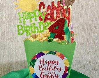 Caterpillar Birthday Center Piece Customized