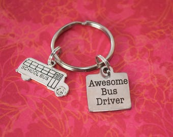 Awesome Bus Driver Gift-Bus driver appreciation, school bus keychain, thank you bus driver