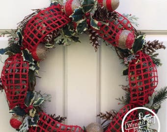 Christmas Wreath, Holly Wreath, Winter Wreath, Holiday Wreath, Wreath Street Floral, Grapevine Wreath, Front Door Wreath