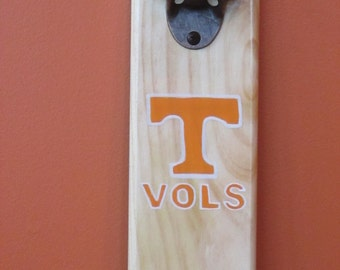 Tennessee Vols Volunteers University of Tennessee Wooden Bottle opener with magnetic cap catcher bottle cap catching opener