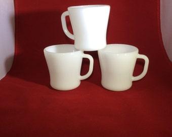 Federal milk glass coffee mugs, vintage milk glass, set of 3 coffee mugs