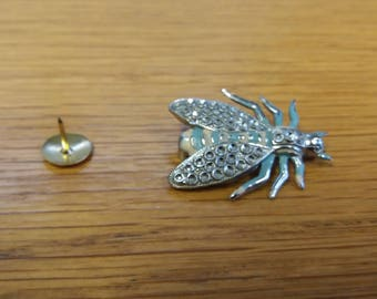 Vintage Bug Brooch - Marcasite Style Tin Wildlife Pest Badge - Kitsch Chic Boho