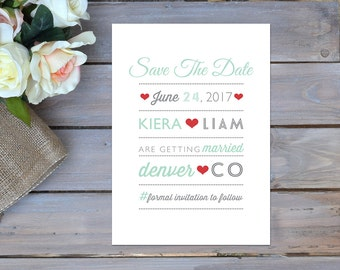 Printable Save The Date   Red Heart Save The Date   Retro Save The Date   Movie Poster Save The Date   Mint and Grey Save The Date