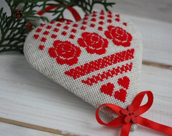 Valentines day decor heart Christmas tree ornament Red roses Christmas decoration Gift for christmas tree decoration wall door hanger