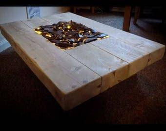 Sleeper coffee table with sunken lights