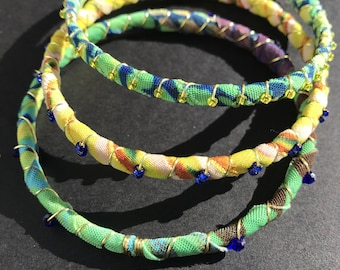 Green, yellow, multicolored bangles