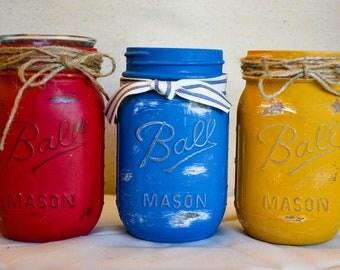 Summer Fun Primary Color Mason Jars