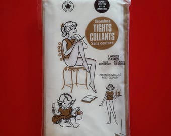1960's Seamless Nylon Tights - Seamless White Tights - SIZE Extra Large
