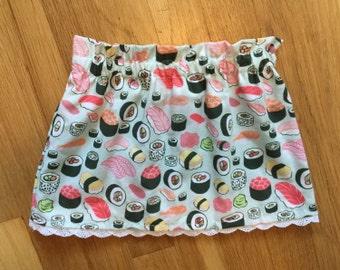 Baby Girl Skirt-Toddler Skirt-Sushi Skirt-Asian Skirt-Baby Sushi Skirt-Shower Gift-Baby Girl Cotton Skirt-Toddler Gift-Baby Sushi Outfit
