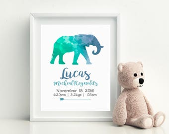 Birth Print | Personalised | Girl or Boy | Birth Announcement | Birth Details | Nursery Decor | Wall Art | Watercolours