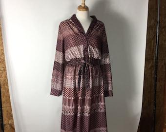 Vintage 70's pink tone shiny multi pattern ladyboss shirtdress