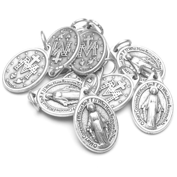 10 small miraculous medal charms catholic gift by