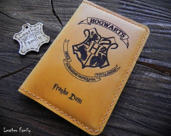 Harry Potter Leather Passport Cover/Leather Passport holder/Harry Potter fan's gift/ Free Personalized Passport cover