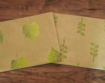 HANDMADE GIFTWRAP- Leaves and Stems, Handprinted wrapping paper, recycled kraft paper, lino printed