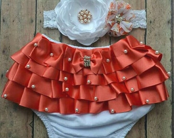 Coral bloomer set - baby coral  bloomer - baby headband - baby bloomer - baby shower gift - newborn bloomer set - baby headband and bloomer