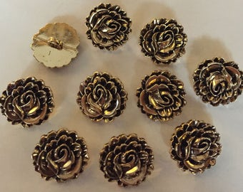 100 x Flower Shaped Buttons With Shank. ABS Plastic Metal Look. Size Approx. 18mm