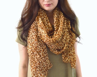 SALE Cheetah Printed Scarf, Summer Scarf, Woman Scarf, Womans Gift, Spring Scarf