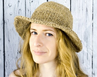 Sun Hat, Hand Knit, Hemp & Cotton Blen, Washable, All Natural Fibers, Natural Color