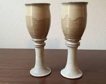 Ceramic Wine Goblets or Candle Sticks (handmade, artist signed)