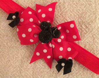 Minnie Headband,Disney Headband,Baby Headband,Infant Headband,Girls Headband,Toddler Headband,Red,Bow,Minnie Accent,Handcrafted,Headband