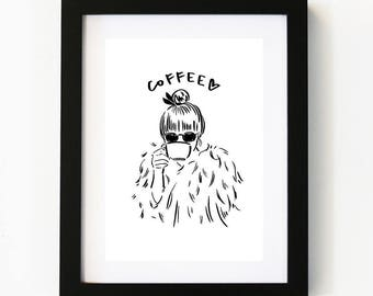 Coffee Lover, Coffee, Coffee Art, Illustration Art Print, Room decor, Gifts For Her, Wall Art, Poster