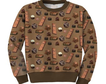 Chocolate Print Sweater Chocolates Sweatshirt Chocolate Candy Jumper **MTO Month Sz XS-3XL Men, Women, Kids**