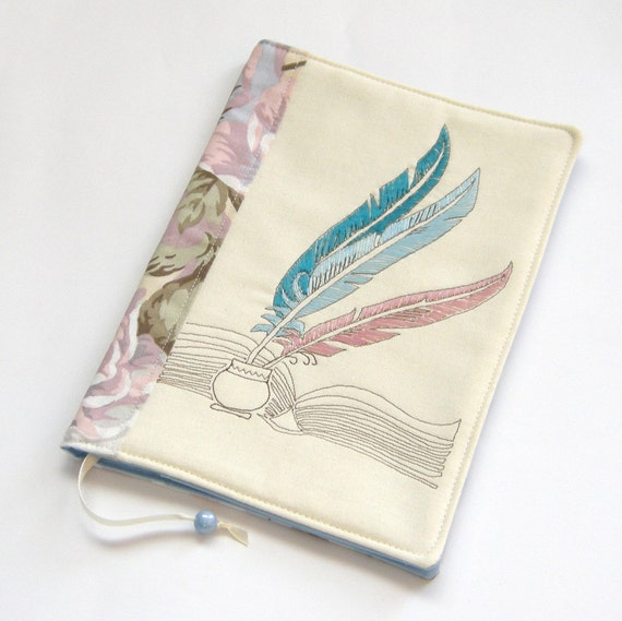 Reusable Fabric Book Cover ~ Reusable fabric book cover travel journal handmade